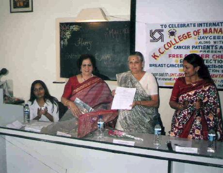 2nd from left Ms. Manju Nichani, Ms. Jayvantiben Mehta, Ms. Sarita Chaurasia